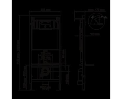 Инсталляция BERGES для скрытого монтажа унитаза NOVUM с кнопкой D7