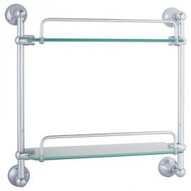 GIALETTA Полка двойная с галереей L35 см, матовое стекло/хром
