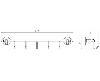 GZ 31075 Крючок для полотенец (пять крючка)