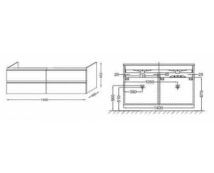 Тумба Jacob Delafon под раковину-столешницу EB2020-RA-G1C