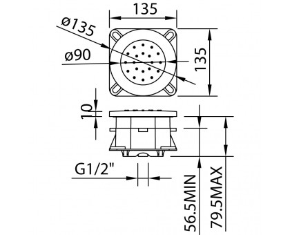 Гидромассажная встраиваемая форсунка Clever Round 99617