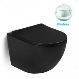 Унитаз подвесной безободковый черный с сиденьем микролифт SantiLine SL-5018B