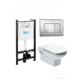 Подвесной унитаз + инсталляция + кнопка + сиденье Roca Dama Senso Pack 893104090