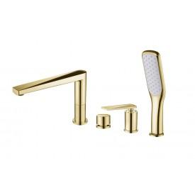 Смеситель врезной на борт ванны Boheme VENTURO 380 золото