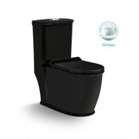 Унитаз напольный безободковый черный моноблок с сиденьем микролифт SantiLine SL-5019МB
