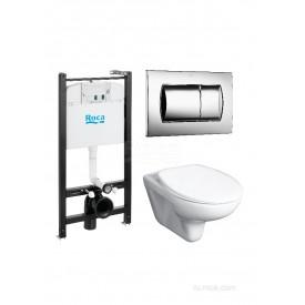 Подвесной унитаз + инсталляция + кнопка + сиденье Roca Mateo Pack 893100010