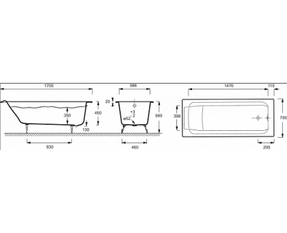 Baнна Jacob Delafon 170 х 70 см без отверстий для ручек E2947-00