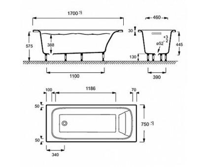 Прямоугольная ванна Jacob Delafon из материала Flight 170 х 75 см E6D031RU-00