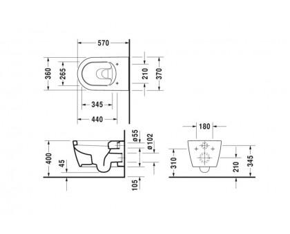 Унитаз подвесной Duravit ME by Starck 2528090000