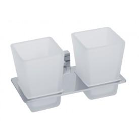 RAMBA Стакан двойной настенный, хром/матовое стекло