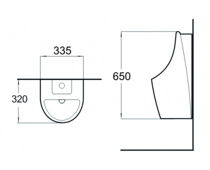 Писсуар настенный SantiLine SL-6001 с функцией электронного смыва
