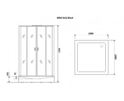 Душевая кабина Niagara Premium NG-6902-01Q BLACK 100x100