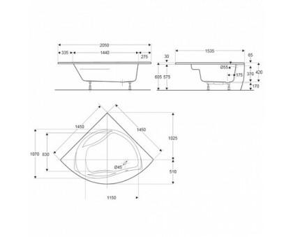 Baнна угловая Jacob Delafon 145 х 145 см для установки с каркасом E6045RU-00