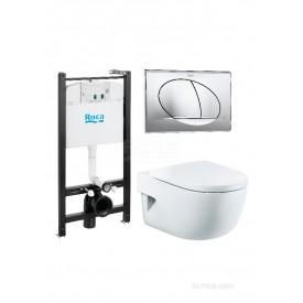 Подвесной унитаз + инсталляция + кнопка + сиденье Roca Meridian Pack 893104110