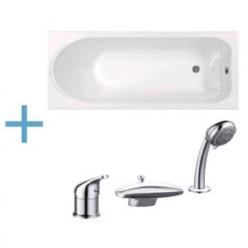 Акриловая ванна Aquanet West 160x70 с каркасом и смесителем Aquanet Practic 2 AF111-63B 00204054 , 00187953 , 00216780