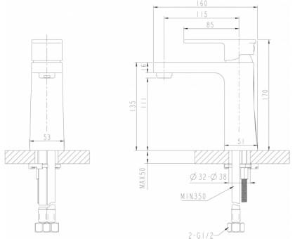 Смеситель для умывальника Bravat Riffle F172106C