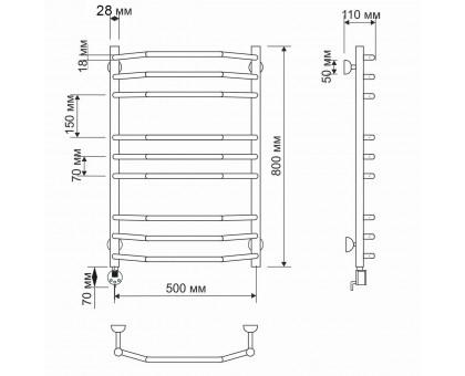 Электрический полотенцесушитель Secado Агата 2 50х80 28/18 1672-2871