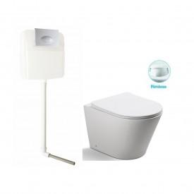 Унитаз напольный безободковый с сиденьем микролифт SantiLine SL-5020