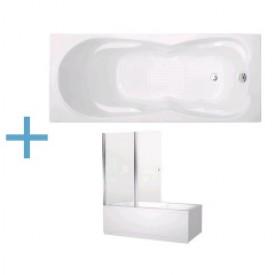 Акриловая ванна Aquanet Viola 180x75 со шторкой Aquanet Alfa 4 NF6222-pivot 00204047 , 00196049