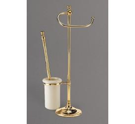 Стойка напольная для унитаза и биде с держателем щетки и туалетной бумаги ART&MAX AM-1948-Cr