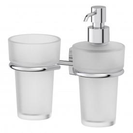 Держатель со стаканом и дозатором жидкого мыла (матовый хрусталь; хром) FBS ESP 008