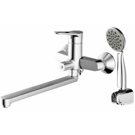 Смеситель для ванны c длинным изливом с аксессуарами Bravat Eco-D F693158C-LB