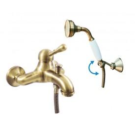 Смеситель RAV Slezаk для ванной, с душевым комплектом, лейка метал., держатель подвижный L054.5/2SM