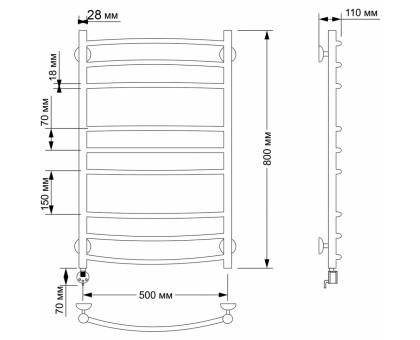 Электрический полотенцесушитель Secado Милан 3 50х80 1677-2892