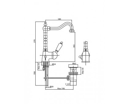 Смеситель на раковину Cezares ELITE-LSM2-01-Bi