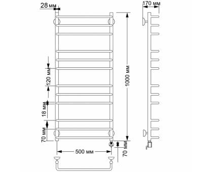 Электрический полотенцесушитель Secado Мерида 3 50х100 28/18 1686-2926