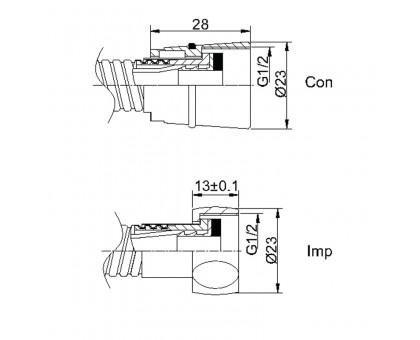 Душевой шланг 150 cm Con/Imp (S.S) Rubineta 600014