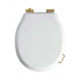 Сиденье для унитаза микролифт белое(петли золото бронза хром на выбор) Boheme 906-W-G белый