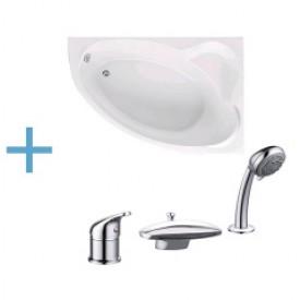 Акриловая ванна Aquanet Mayorca 150x100 R с каркасом и смесителем Aquanet Practic 2 AF111-63B 00204009 , 00161975 , 00216780