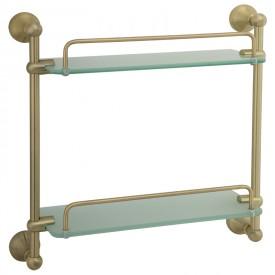 GIALETTA Полка двойная с галереей L35 см, матовое стекло/бронза