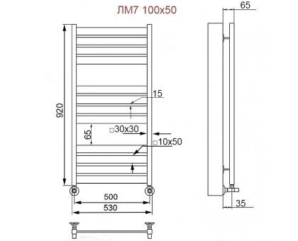 Полотенцесушитель Водяной ПК Nika 100/50 с вентилями 1638-2721