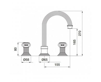 Смеситель на раковину Cezares OLIMP-BLS2-A-03/24-M