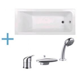 Акриловая ванна Aquanet Bright 175x75 с каркасом и смесителем Aquanet Practic 2 AF111-63B 00216295 , 00216296 , 00216780