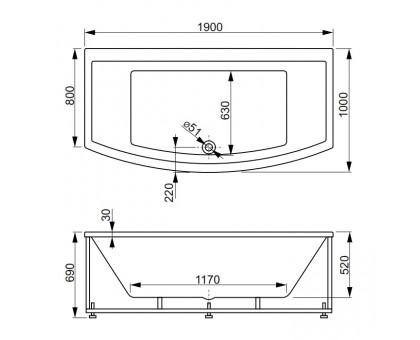 Акриловая ванна VAGNERPLAST INSPIRA 190 VPBA191INS2X-04