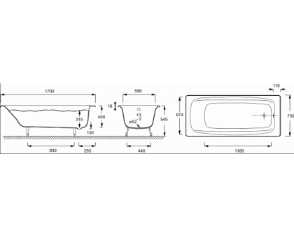 Baнна Jacob Delafon 170 х 75 см без отверстий для ручек E2937-00