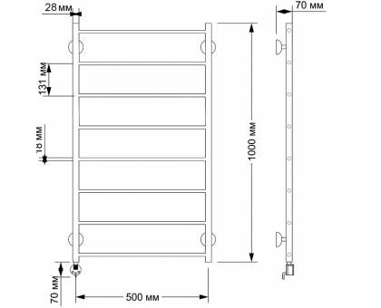Полотенцесушитель электрический Secado Триада 1 50х100 1671-2868