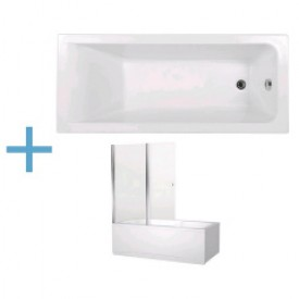 Акриловая ванна Aquanet Bright 175x75 со шторкой Aquanet Alfa 4 NF6222-pivot 00216295 , 00196049