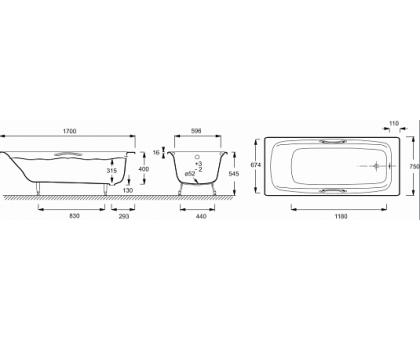 Baнна Jacob Delafon 170 х 75 см с отверстиями для ручек E2926-00