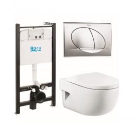 Комплект Roca Meridian 7893104110 унитаз, инсталляция,сиденье,кнопка