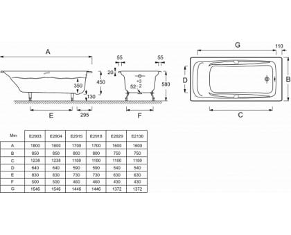 Baнна Jacob Delafon 170 х 80 см, с отверстиями для ручек E2915-00
