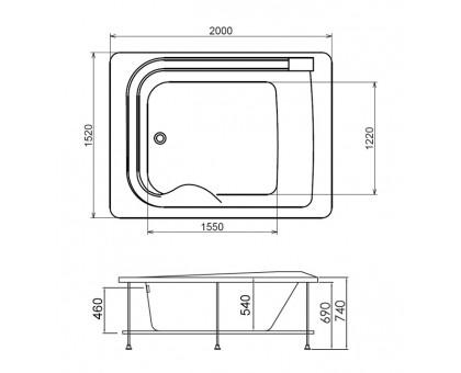 Акриловая ванна Gemy G9265 K