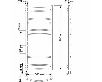 Полотенцесушитель электрический Secado Милан 2 50х120 1676-2890