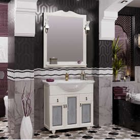 Мебель для ванной Тибет 80  Opadiris Z0000008075 (Тумба с худ.стеклом, с раковиной + зеркало)