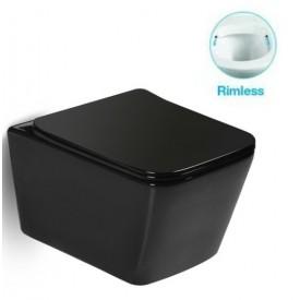 Унитаз подвесной безободковый черный матовый с сиденьем микролифт SantiLine SL-5004MB