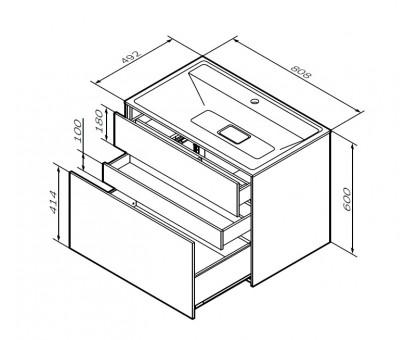 M50AFHX0803EGM INSPIRE V2.0 База под раковину подвесная 80 см 3 ящика push-to-open элегантный