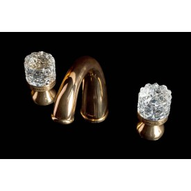 Смеситель для раковины на 3 отверстия Boheme CRYSTAL 297-CRST золото
